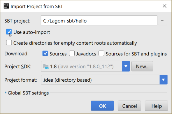 Lagom - Importing an sbt project into Intellij